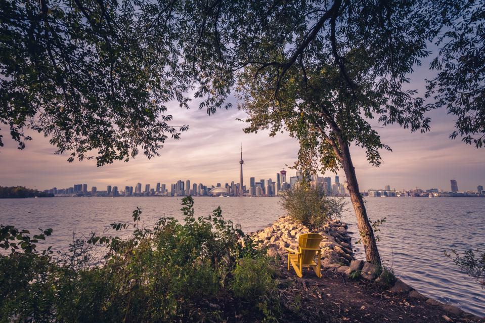 Toronto city during sunset from Toronto Central Island
