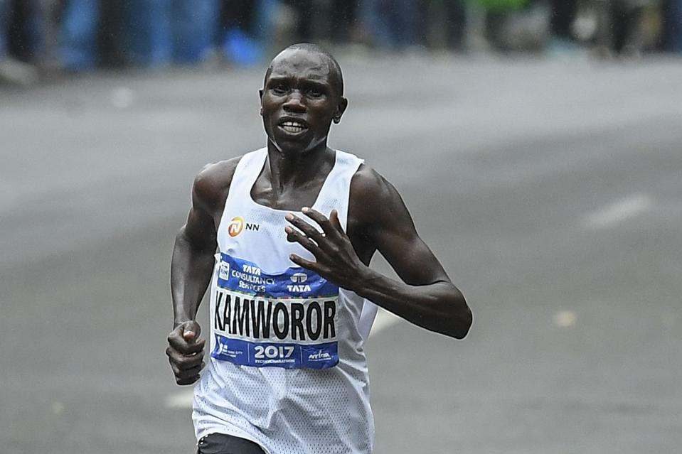 Geoffrey Kamworor of Kenya competes to win the Men's Division during the 2017 TCS New York City Marathon in New York on November 5, 2017