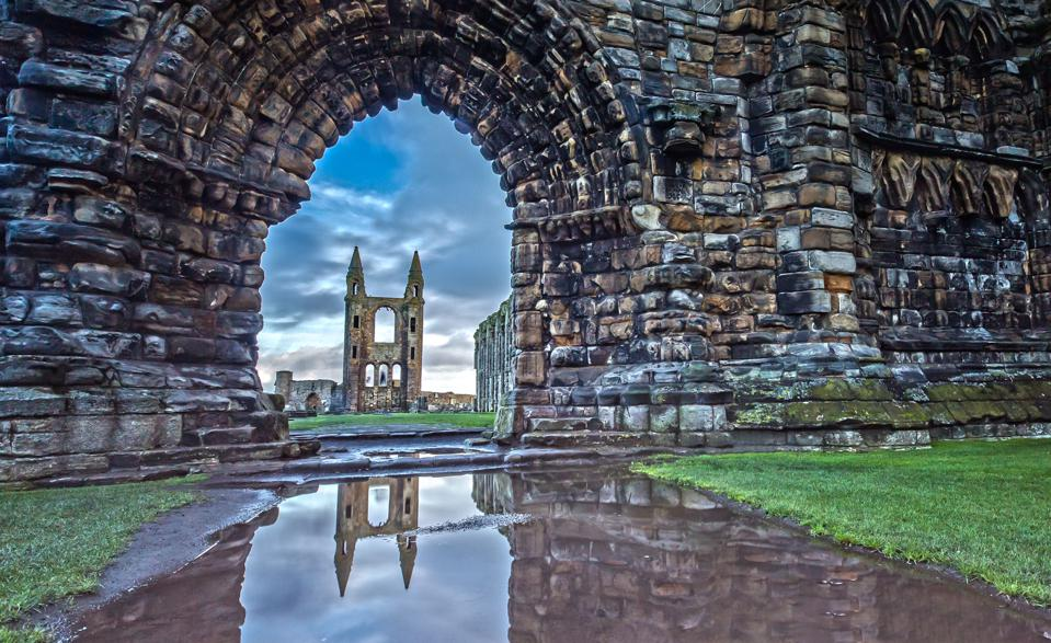 Reflection in the Water of the St Andrews Cathedral in St. Andrews, Scotland
