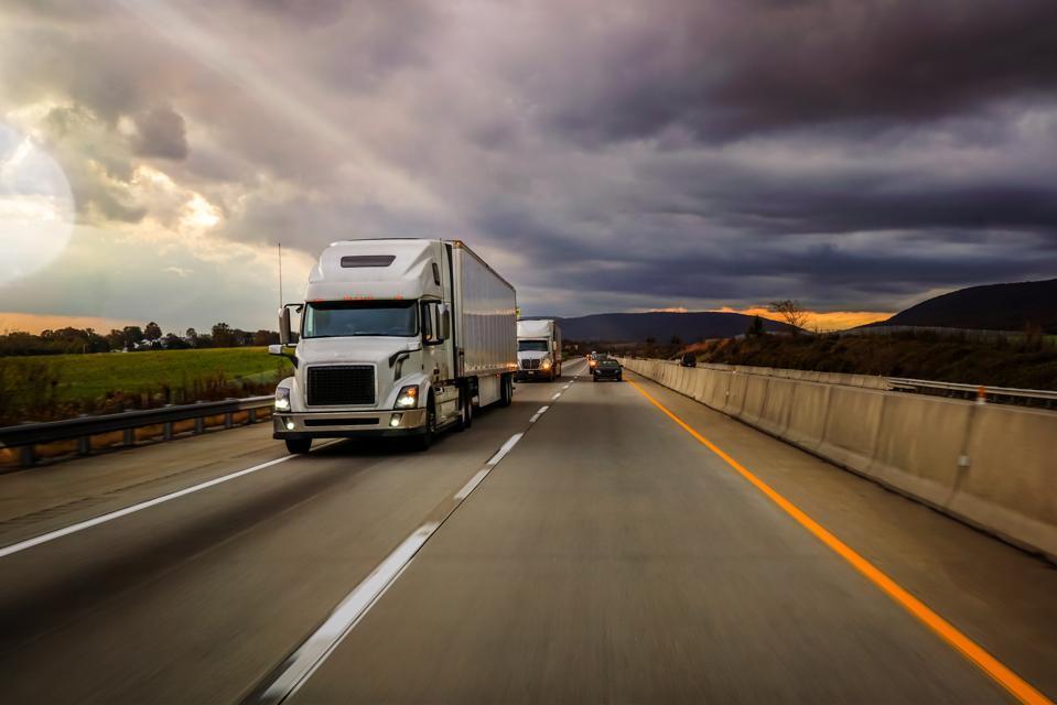 18 wheeler truck on the highway