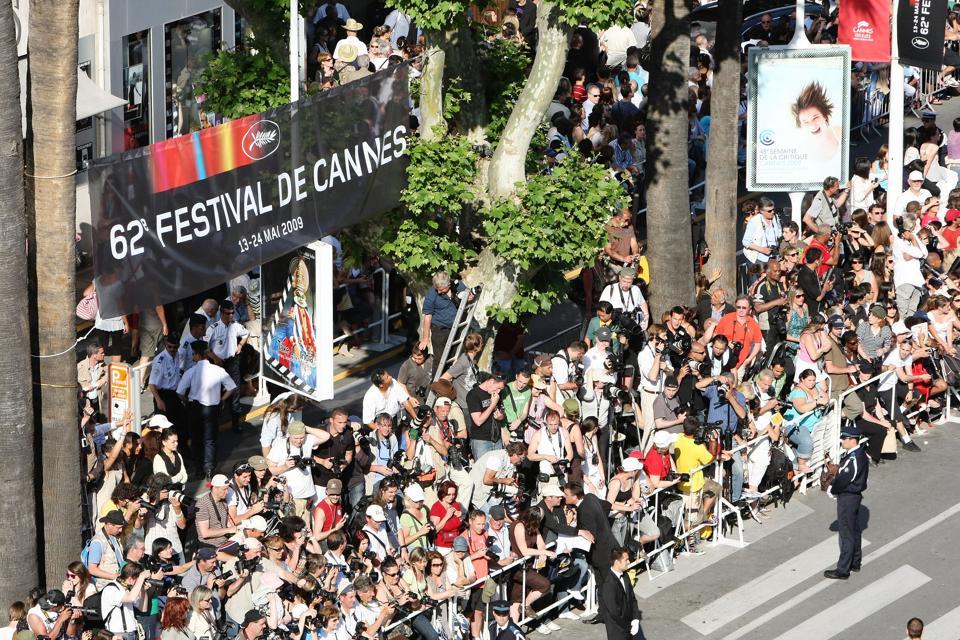 Crowds gather on the Croisette for the A Prophet Movie Premiere at Palais Des Festivals