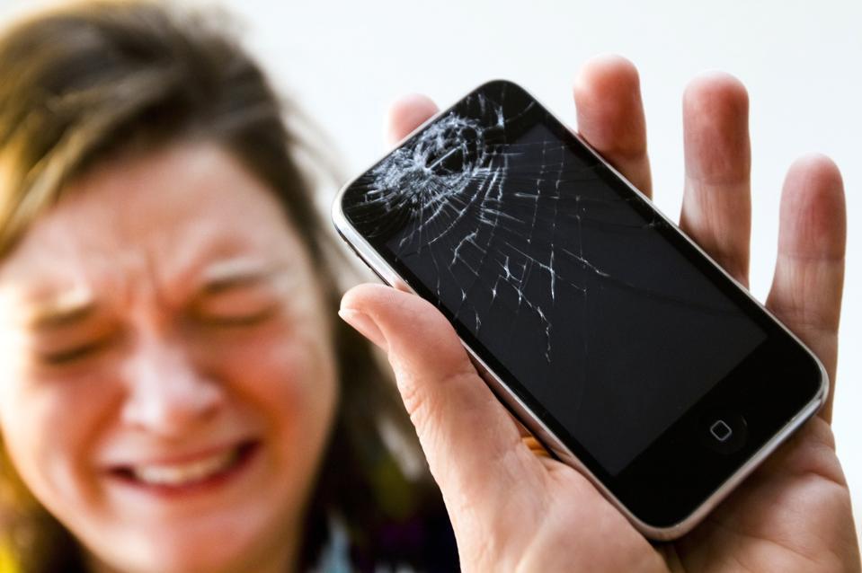 Broken iPhone mobile phone