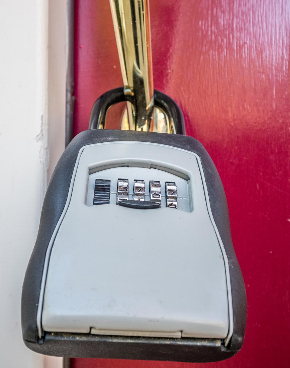 The lock box on the entrance door