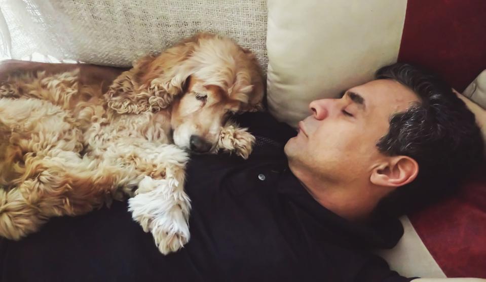 Man And Dog Sleeping On Sofa At Living Room