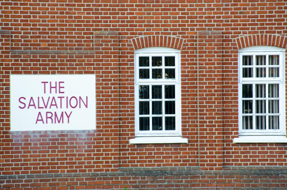 Salvation Army sign with brickwork