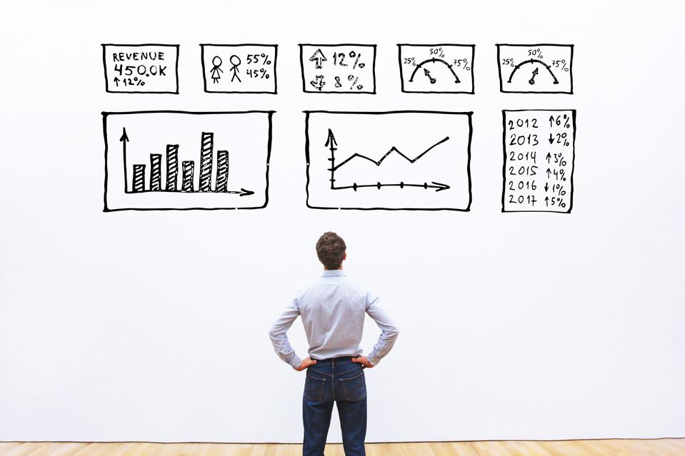 business analytics concept, businessman looking at dashboard with charts