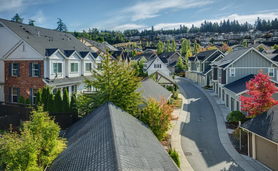 Elevated View of Residential Street in Seattle