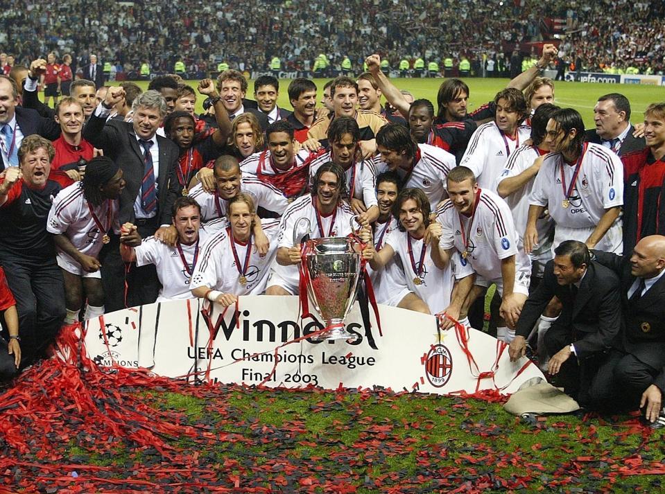 Champions League 2002/03, Finale, AC Mailand-Juventus Turin - Siegerehrung für Mailand