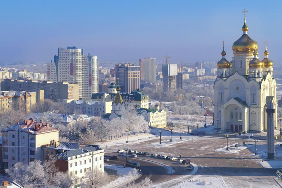 Frost morning in Khabarovsk. The Transfiguration Cathedral. Far East, Russia.