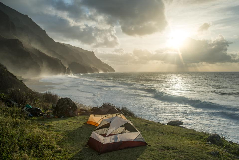 Campsite with view of the Na Pali coast and Kalalau Beach