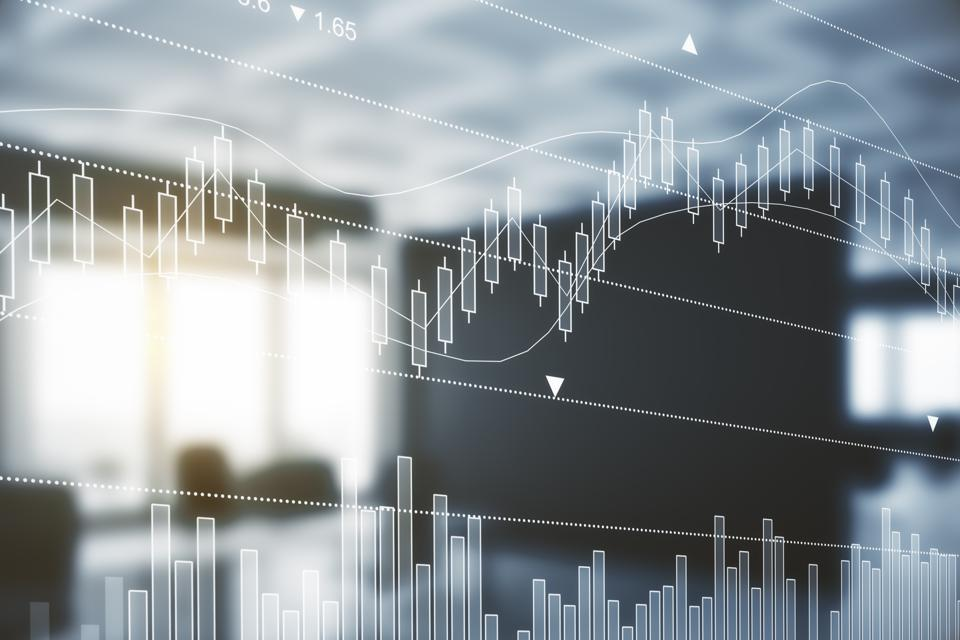 Abstract blurry office interior with forex chart