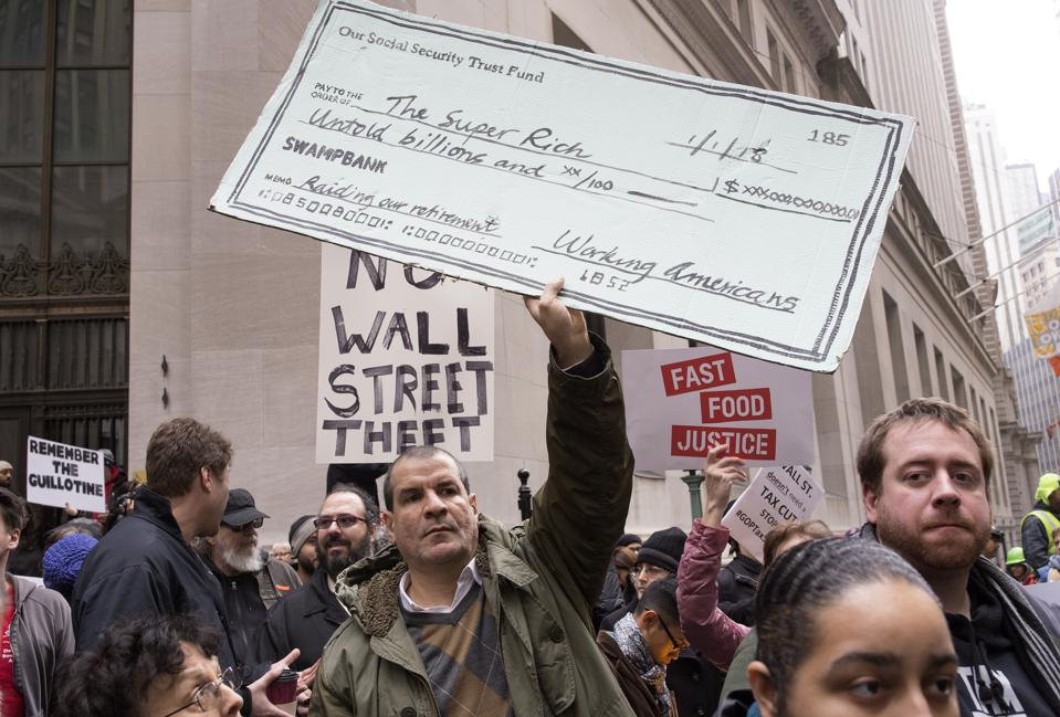Demonstration at Wall street against the tax bill