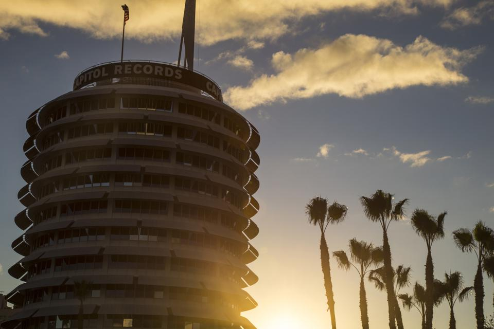 Capitol records Building at Sunset, Hollywood, California, USA
