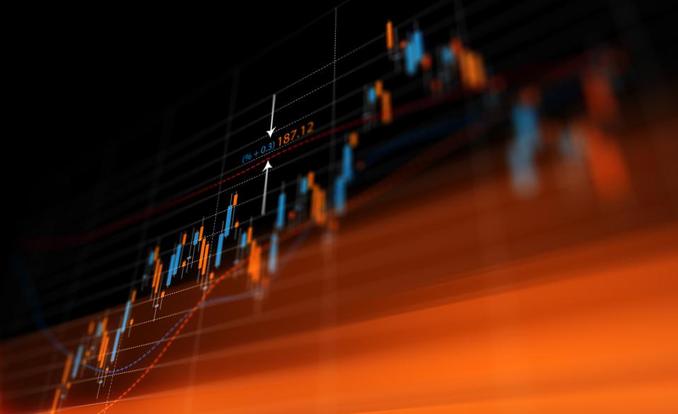 Financial Graph Over Black Background
