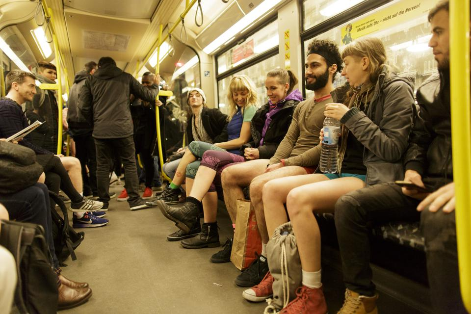 More likely to use public transport if it is enjoyable - subway users in Berlin on No Pants Day