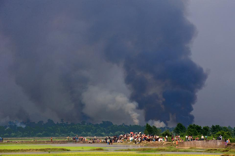 Rohingayas houses are burning  by Myanmar army. Thousands of...