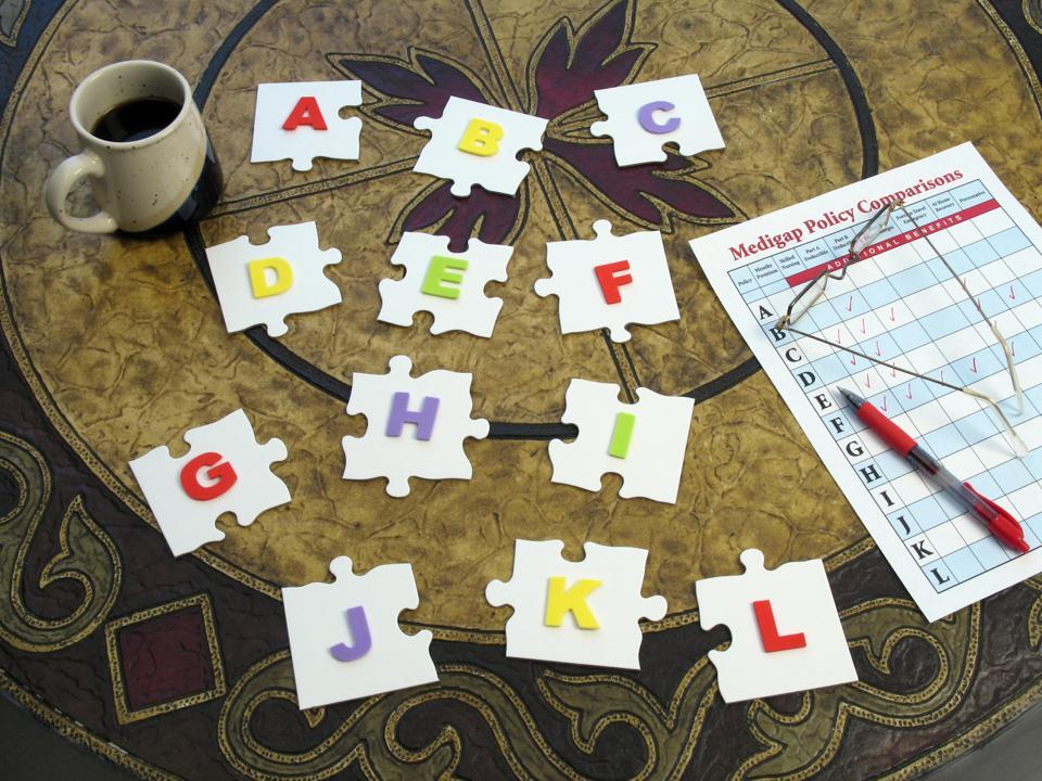 Medicare Medigap Puzzle: Puzzle Pieces with Alphabetical Plan Letters
