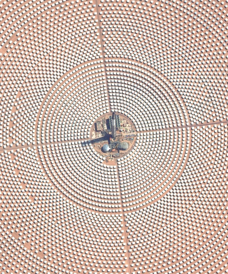 Morocco's Ouarzazate Solar Power Station seen by satellite.
