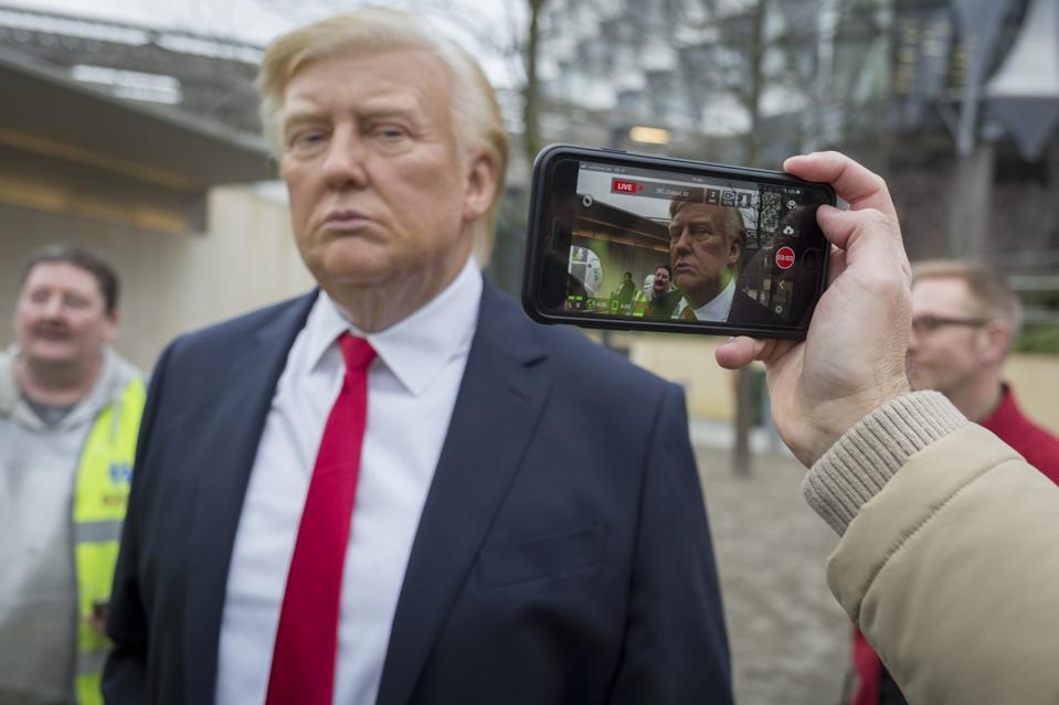 President Trump Waxwork Outside New London US Embassy