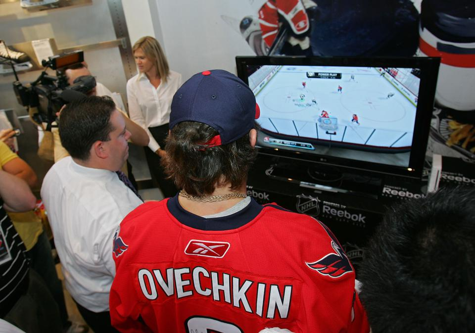Alex Ovechkin at the NHL store.