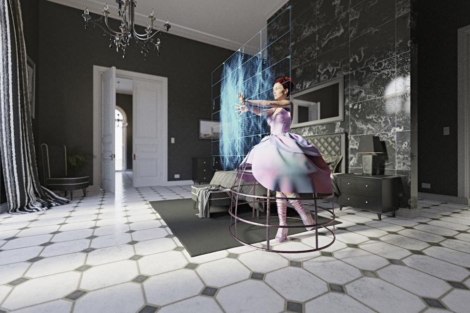 Woman wearing dress in bedroom using virtual screen