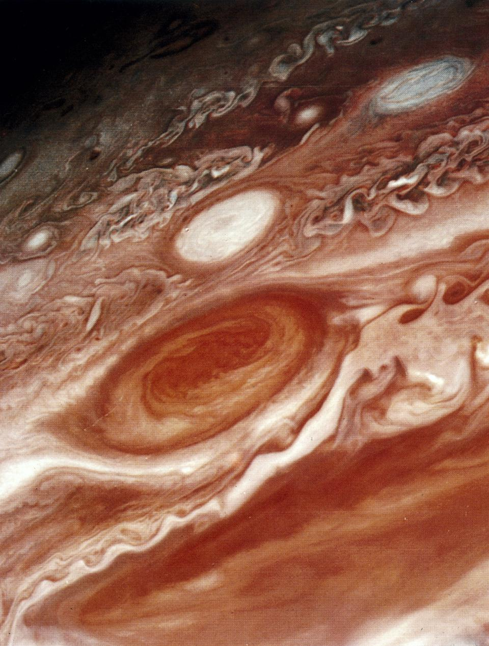 Voyager 1's close up of the Great Red Spot on Jupiter.