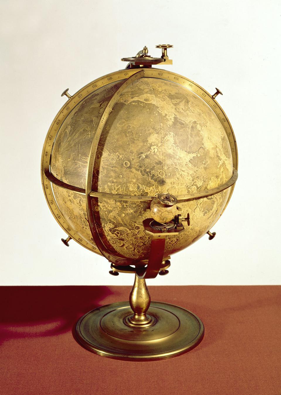 Lunar globe with mechanical stand, 1797.