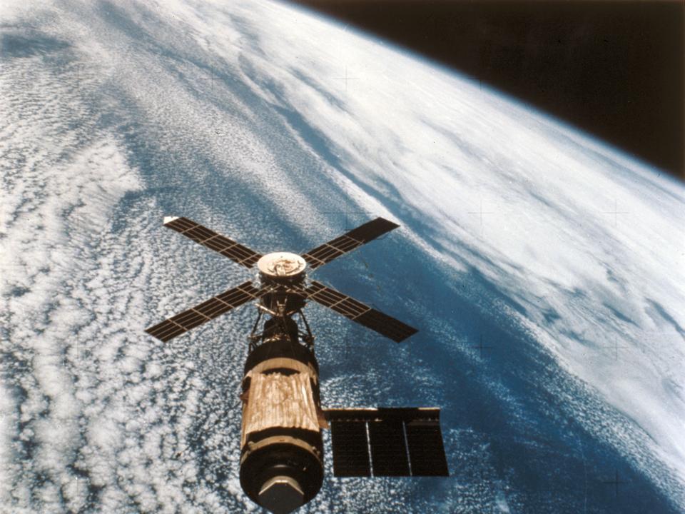 The Skylab space station in orbit, 1974.