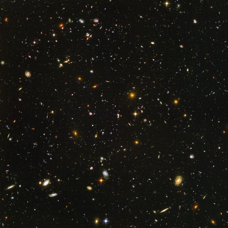 Hubble ultra deep field view of galaxies, 2003-2004.