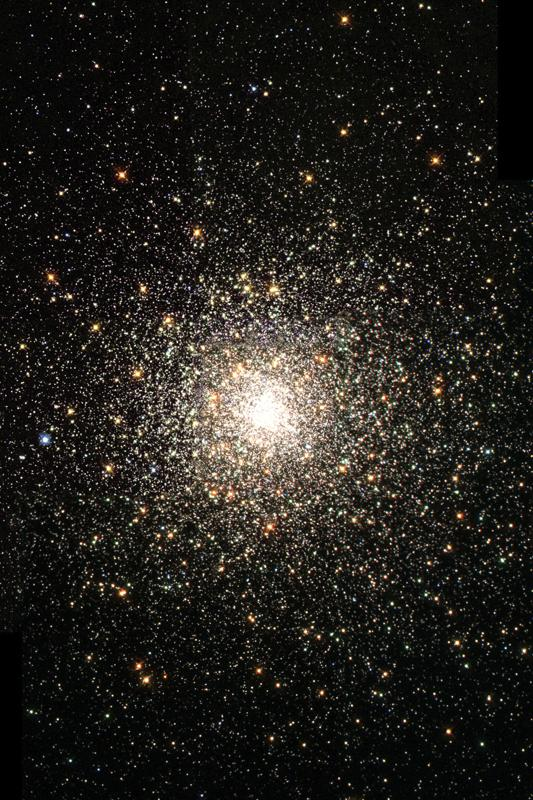 Globular clusters contain hundreds of thousands of stars, all held together by their mutual gravitational attraction.