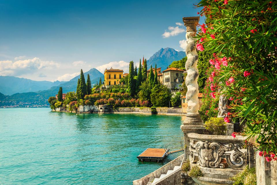 Oleander flowers and villa Monastery in the background, lake Como, Varenna