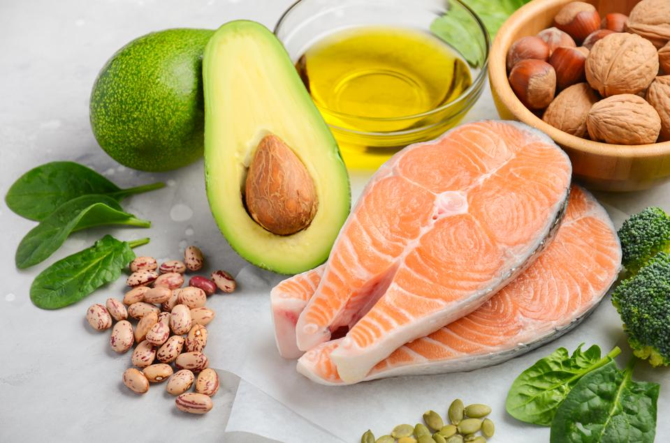 food high in omege-3 fatty acids, including salmon and avocados.