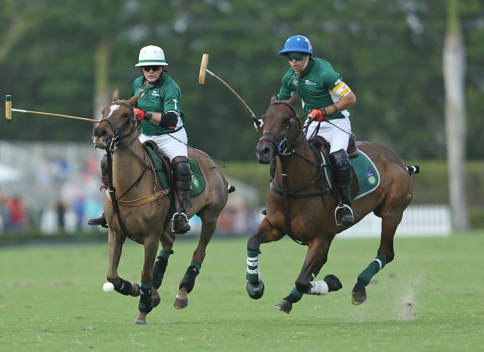Hildebrand, left, playing the sport of kings, and billionaires.