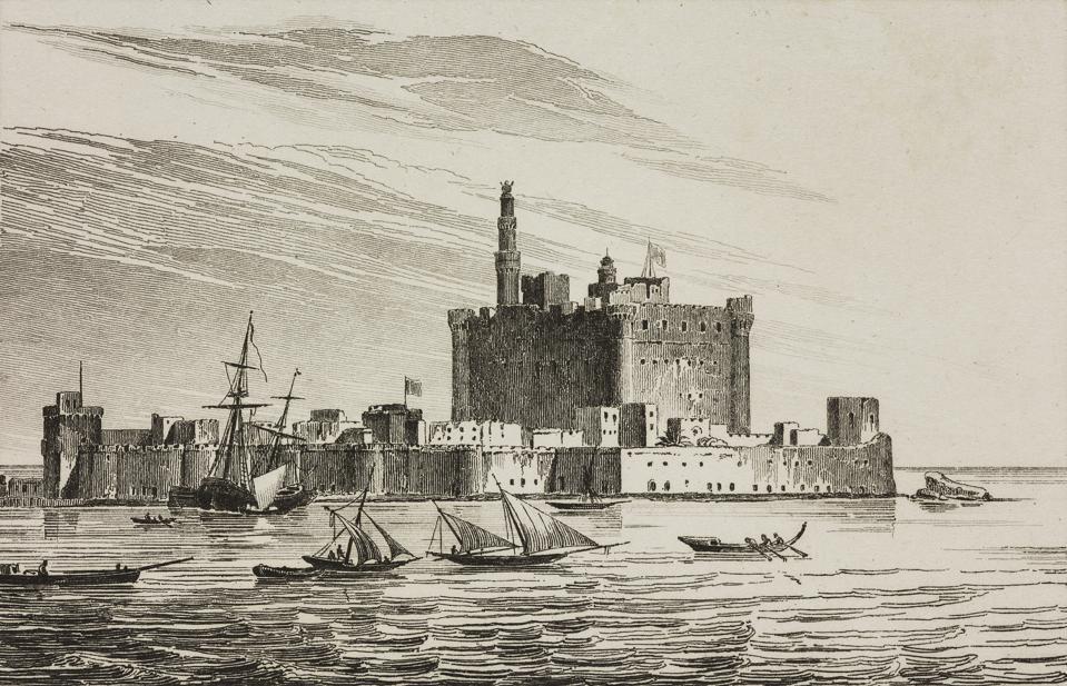 The Lighthouse of Alexandria, Egypt, engraving