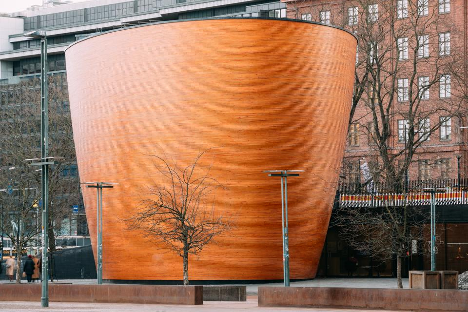 Helsinki, Finland. Kamppi Chapel Also Known As Chapel Of Silence Located On Narinkka Square.