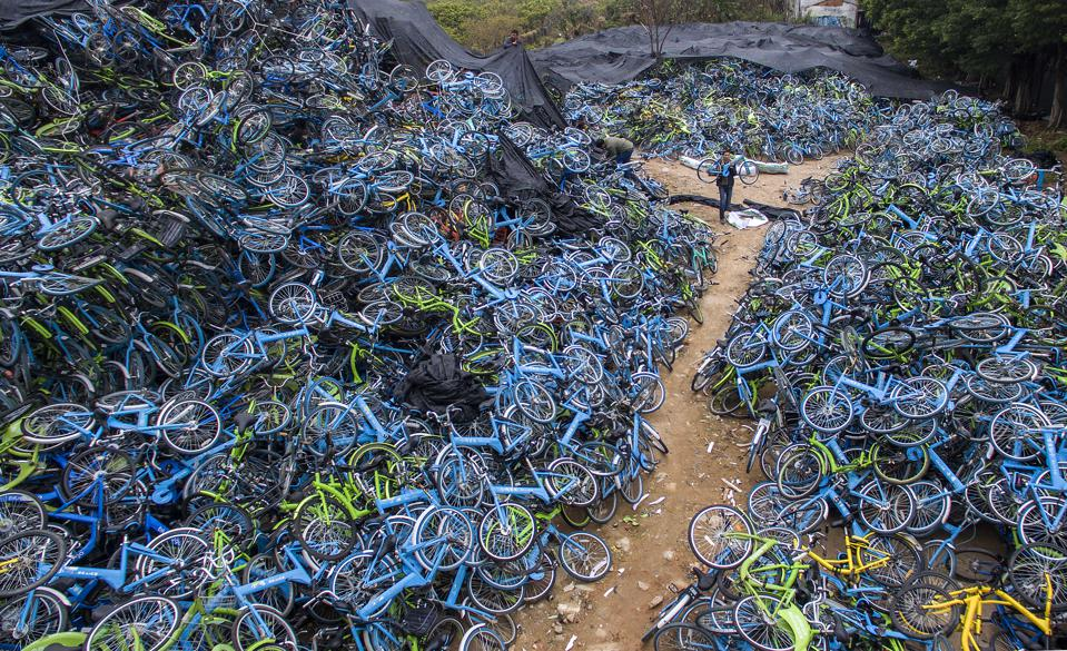 Abandoned Shared Bikes Piled Up In Guangzhou