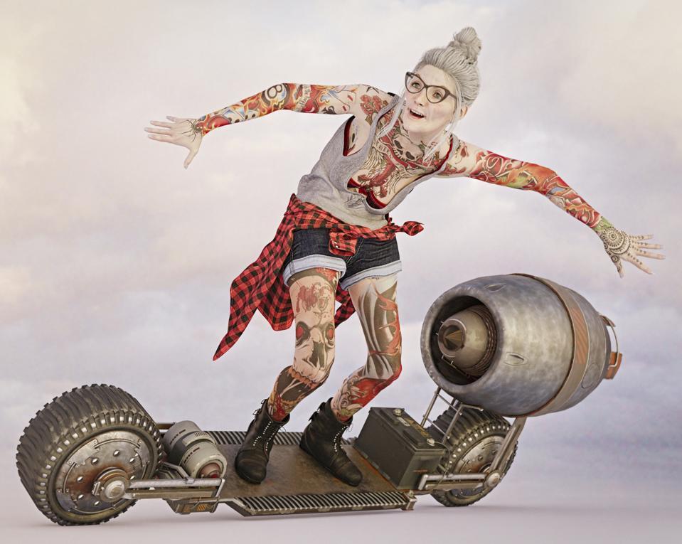 Older woman with tattoos riding futuristic skateboard