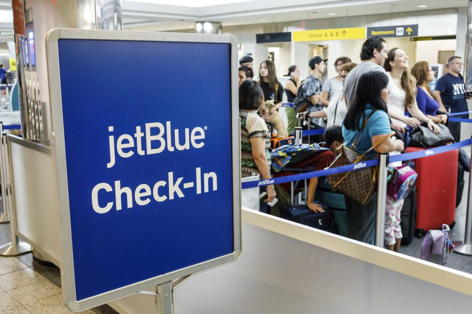 JetBlue Airways Corporation check-in sign in the LaGuardia Airport.