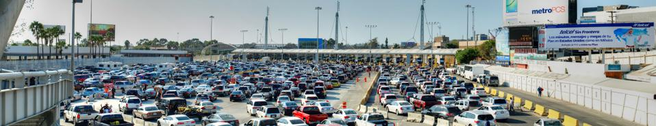 Traffic at Border Crossing at San Ysidro Entering USA from Mexico