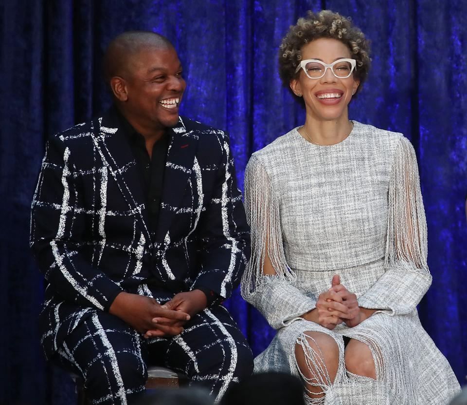 Artists Kehinde Wiley, and Amy Sherald Barack attend the portrait unveilings at the National Portrait Gallery
