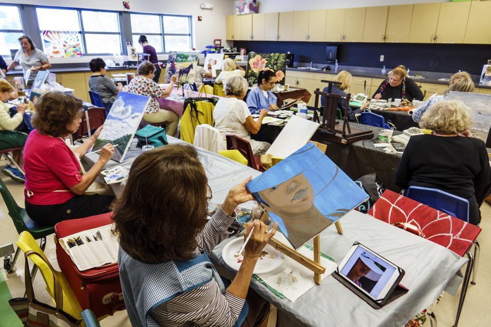 Miami Beach, North Shore Community Center, senior education Art Class