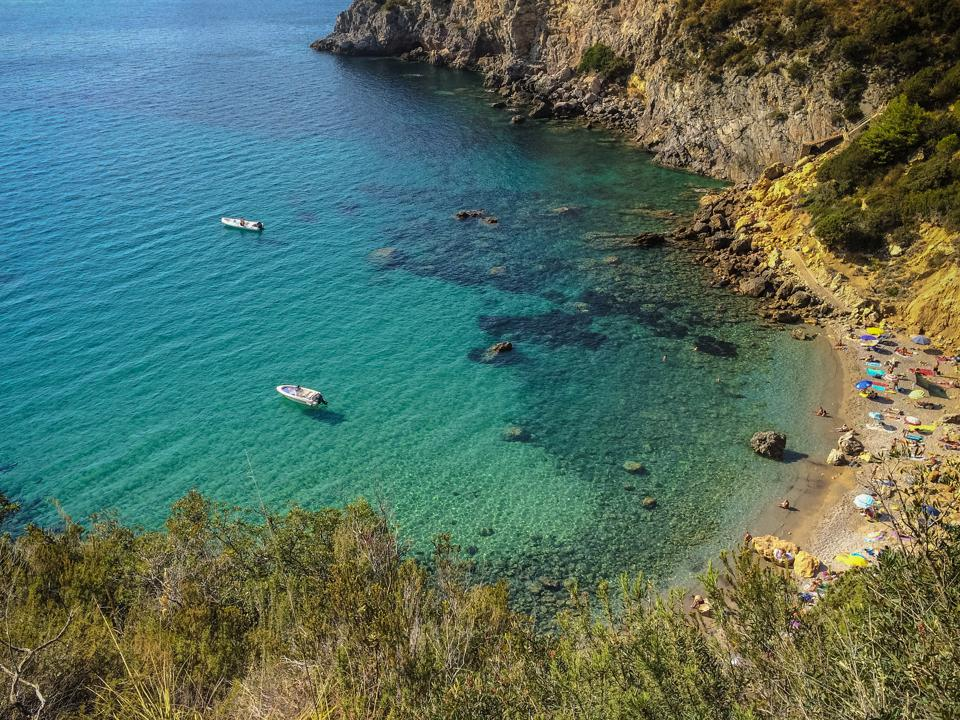 Cala del gesso, one of the most beautiful beaches in the Argentario archipelago, Tuscany