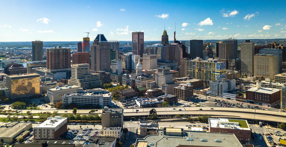 Baltimore Downtown Aerial w/ City Hall and Expressway