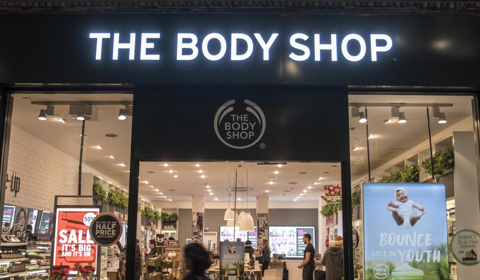 The Body Shop store seen in London famous Oxford street.