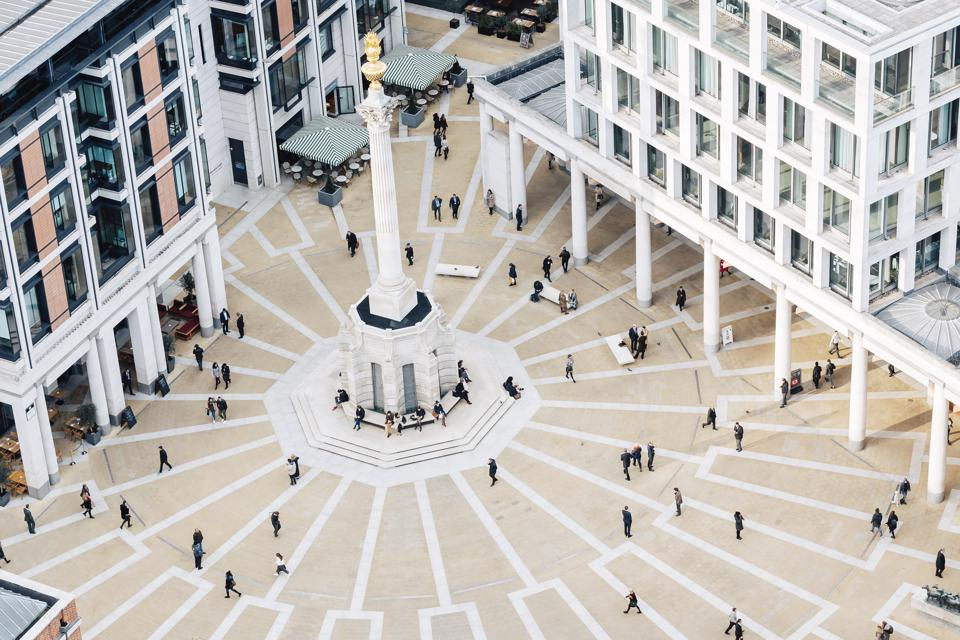 Aerial view of Paternoster square in London, England, UK