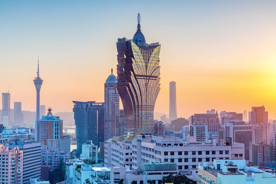 city skyline at sunset, Macau