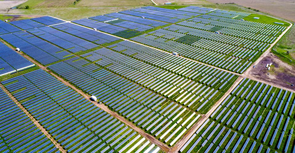 An aerial view of a huge solar power plant just outside of Austin, Texas.