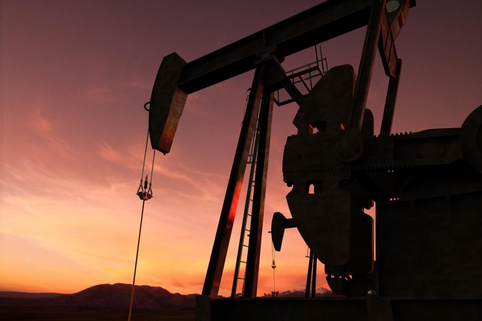 pump jack in an oil field
