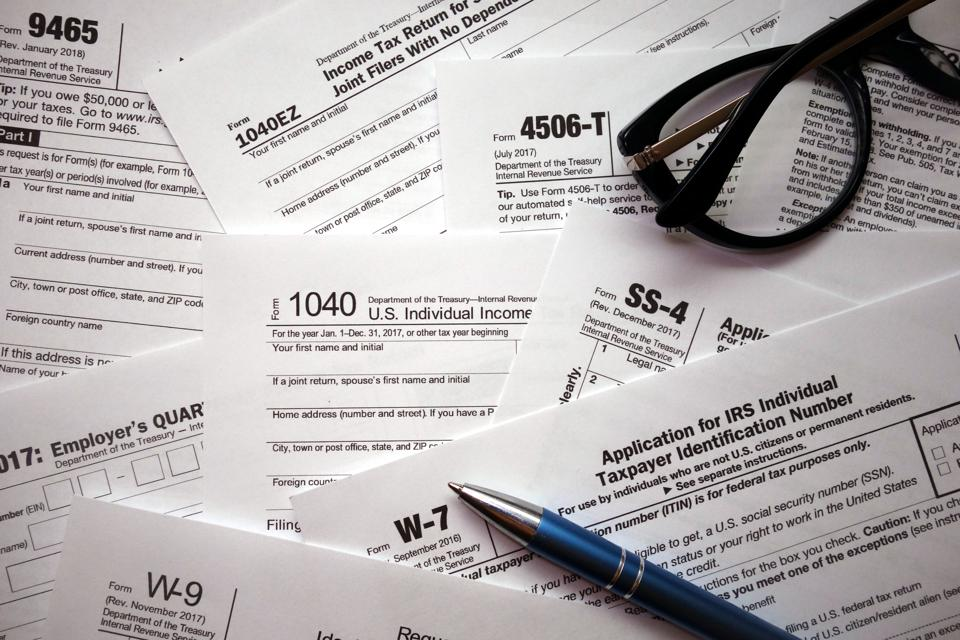 US tax forms background