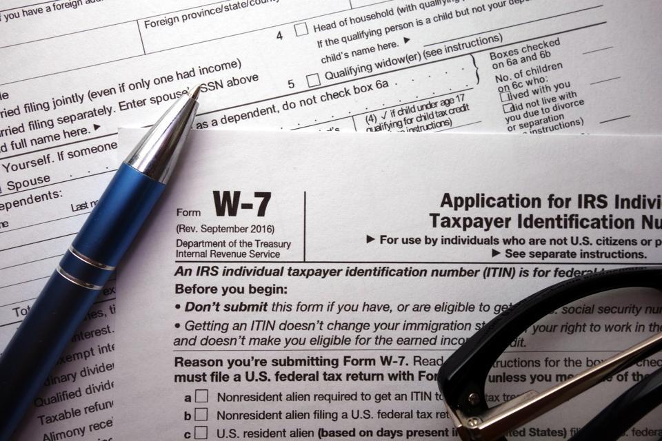W-7 irs federal tax form closeup